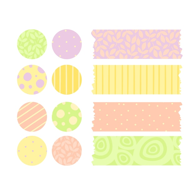Vector set of stickers and scotch tape Free Vector