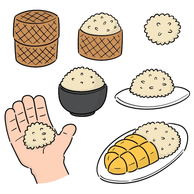 Vector set of sticky rice Premium Vector