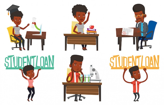 Vector set of student characters. Premium Vector