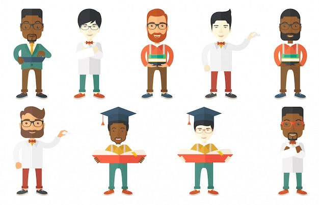 Vector set of student characters. Premium Vector