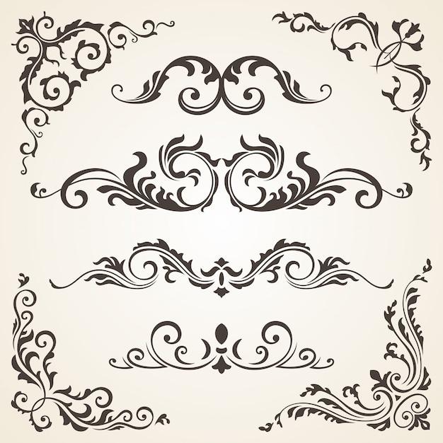 Vector set of swirl elements and corners for design Premium Vector