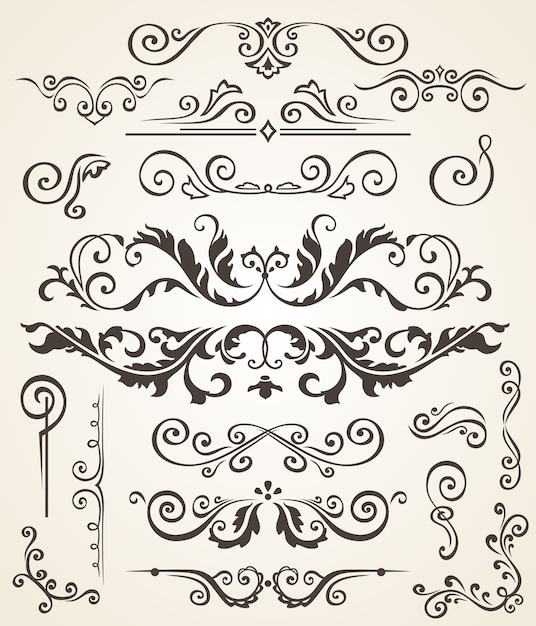 Vector set of swirl elements and corners for design Premium Vector