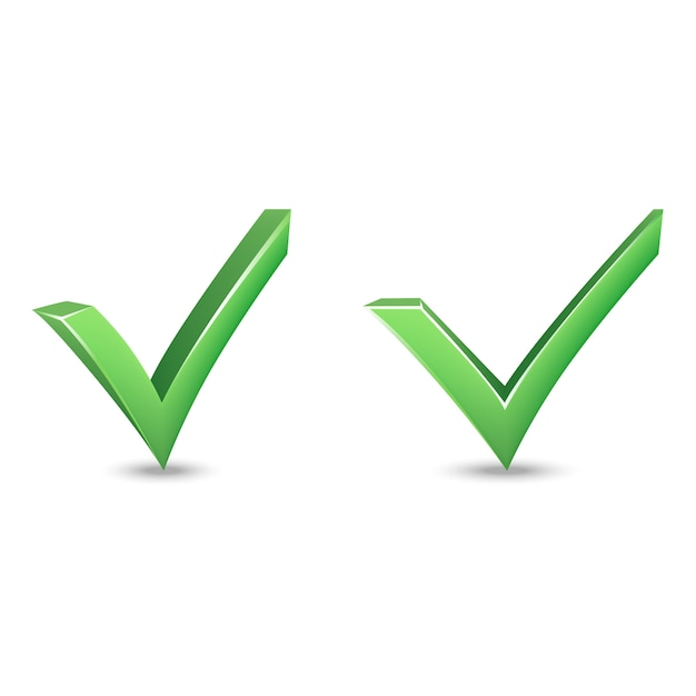 Vector set of symbol tick. Premium Vector