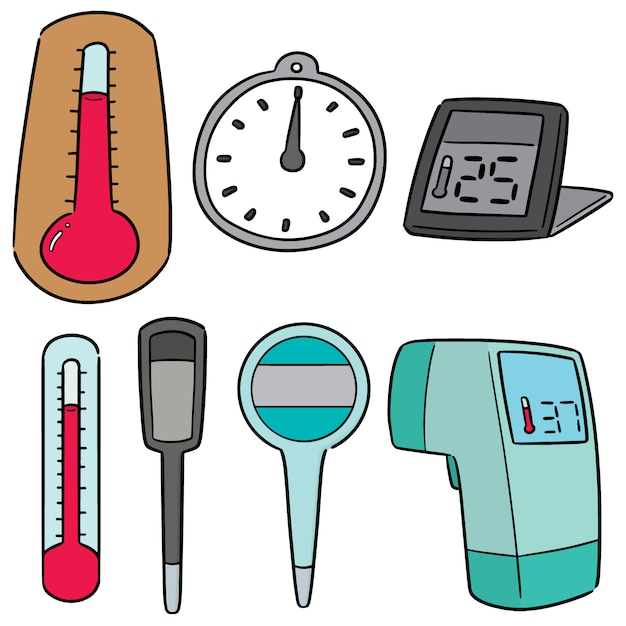 Vector set of thermometer Premium Vector