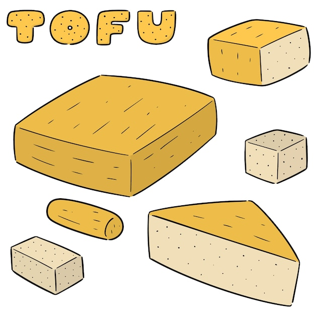 Vector set of tofu Premium Vector