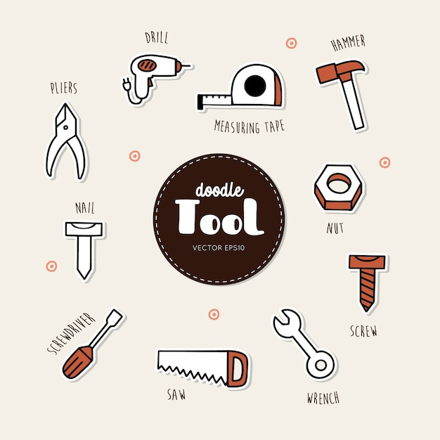 Vector set of tools icons. hand draw doodle vector.. Premium Vector
