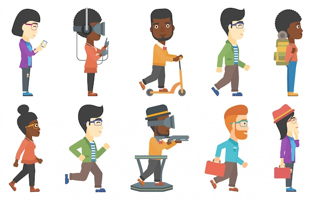 Vector set of tourists and business characters. Premium Vector
