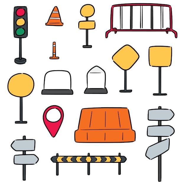 Vector set of traffic equipment Premium Vector
