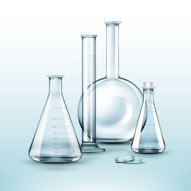 Insieme di vettore delle boccette del laboratorio chimico di vetro trasparente, provetta isolata su priorità bassa Vettore gratuito