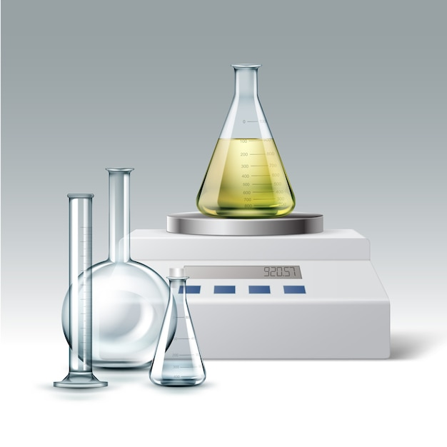 Insieme di vettore della provetta di laboratorio chimico in vetro trasparente, vuota e piena di boccette di liquido giallo con bilancia elettronica isolato su priorità bassa Vettore gratuito