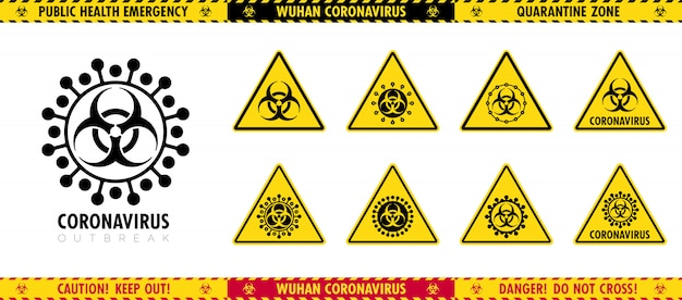 Vector set of triangular signs and caution tapes about epidemic. different pictograms of a virus. Premium Vector
