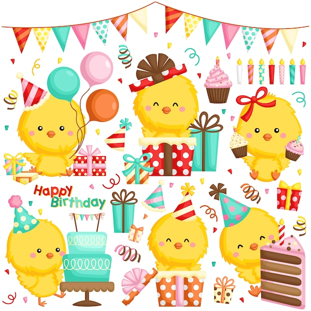 A vector set of various chickens celebrating birthday with cakes and many gifts Premium Vector
