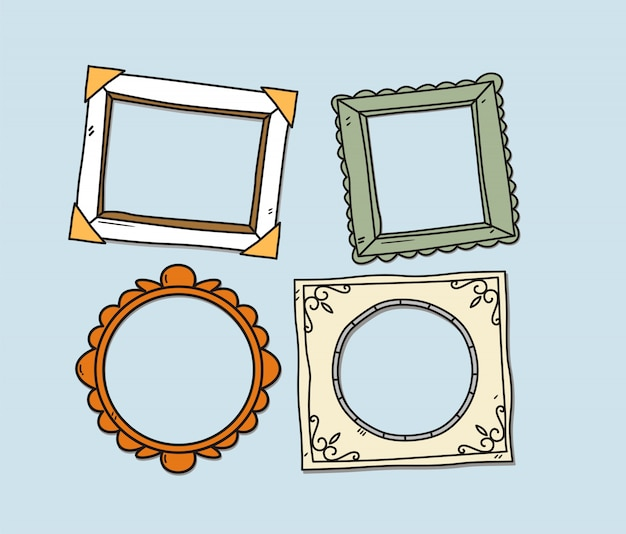 Vector set of vintage photo frames Premium Vector