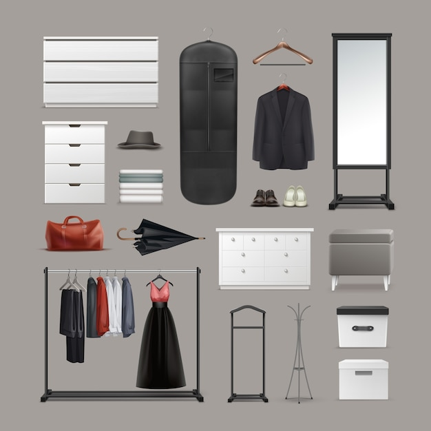 Vector set of wardrobe stuff hangers, boxes, mirror, pouf, racks and stands, different clothes, bag, shoes and umbrella front view isolated on background Free Vector