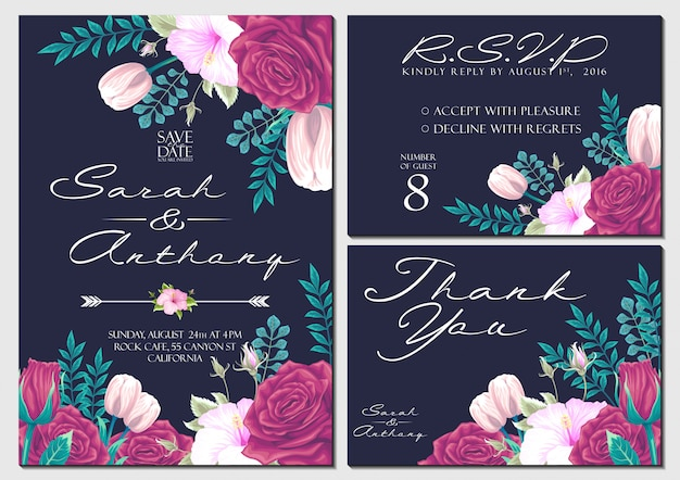 Vector set wedding invitation card with flowers background template Premium Vector
