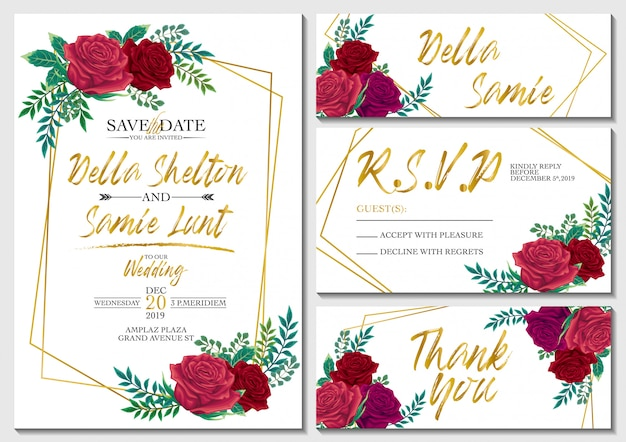 Vector set wedding invitation card with roses and gold background template Premium Vector