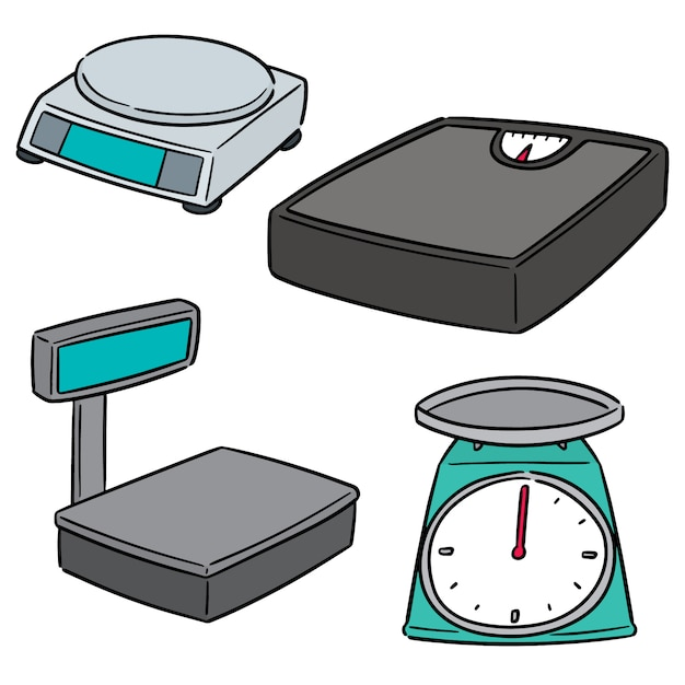 Vector set of weighing machine Premium Vector