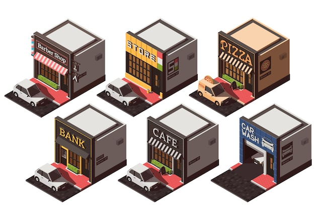 Vector set with isometric city buildings. Premium Vector