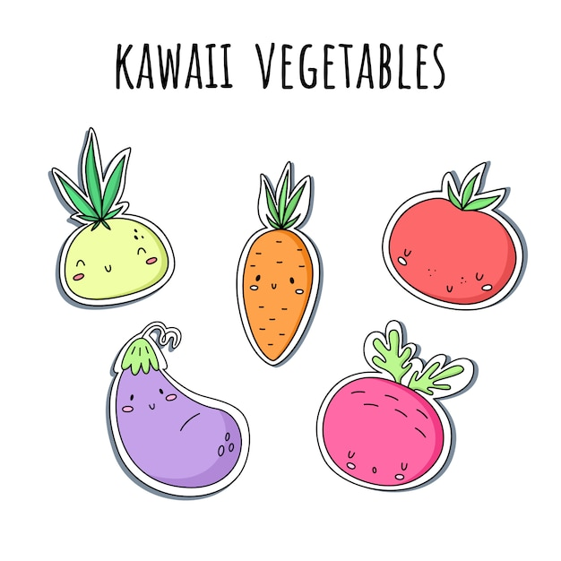 Vector set with kawaii vegetables. stickers. onions, carrots, tomato eggplant beets Premium Vector