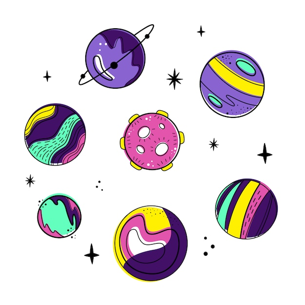 Vector set with planets and moon. Premium Vector