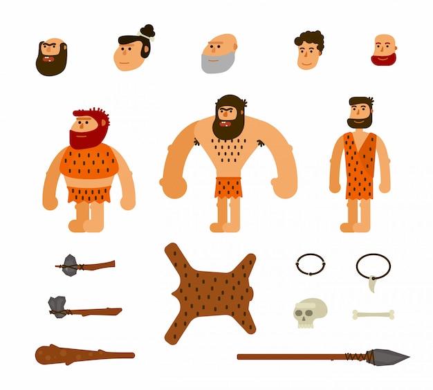 Vector set with prehistoric people Premium Vector