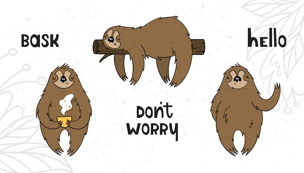 Vector set with sloths in cartoon style with texture Premium Vector