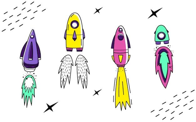 Vector set with space rockets Premium Vector