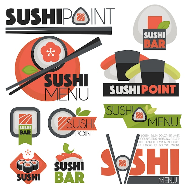 Vector set with sushi banners, icons Premium Vector