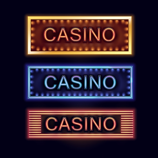 Vector set of yellow, blue, orange illuminated casino signboards for poster, flyer, billboard, web sites and gambling club isolated on black background Free Vector