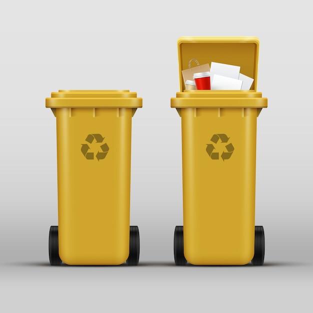 Insieme di vettore dei cestini gialli per la raccolta differenziata dei rifiuti di carta Vettore gratuito