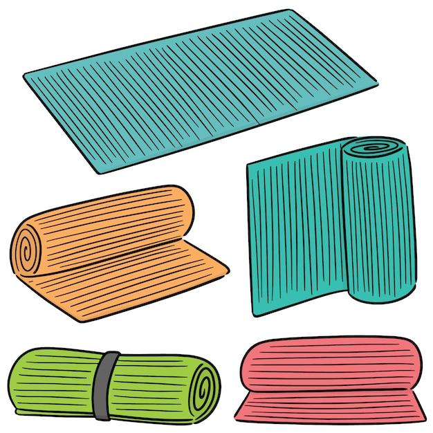 Vector set of yoga mat Premium Vector