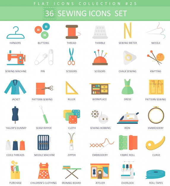 Vector sewing color flat icon set. elegant style design. Premium Vector