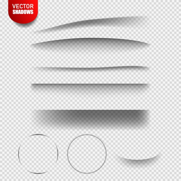 Vector shadows isolated. vector design elements divider lines set of shadow effects. transparent shadow realistic illustration Premium Vector