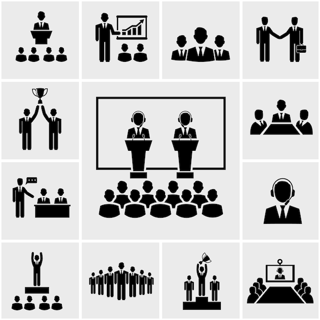 Векторный силуэт бизнес-конференции и презентации значки, встреча людей Бесплатные векторы