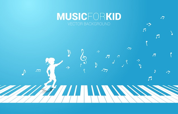 Vector silhouette of girl running with piano key with flying music note . concept background music for kid and children. Premium Vector