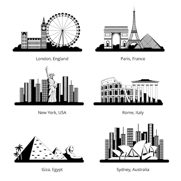 Vector silhouette set with panoramas of famous landmarks. Premium Vector