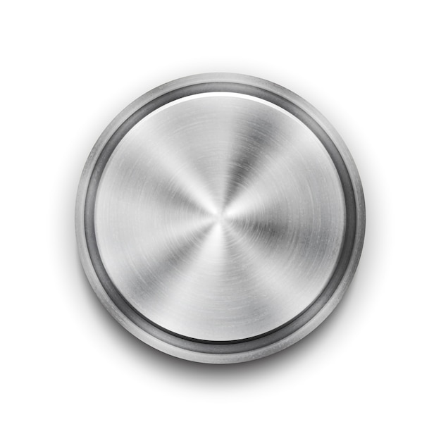 Vector silver circular metal textured button with a concentric circle texture pattern and metallic sheen  overhead view vector illustration Free Vector