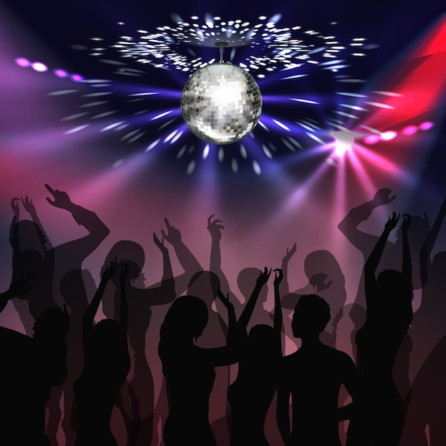 Vector silver mirror ball with glowing, spotlights and silhouettes of people on disco party Free Vector