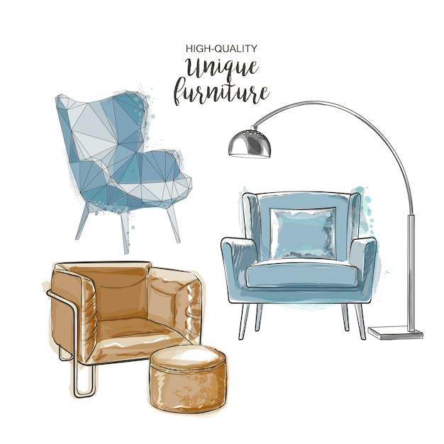 Vector sketch chairs Premium Vector