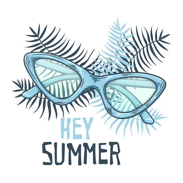 Vector sketch sunglasses in vintage style. lettering: hey summer. Premium Vector