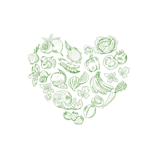 Vector sketched fresh vegetables and fruits in shape of heart illustration, vegan banner poster Premium Vector