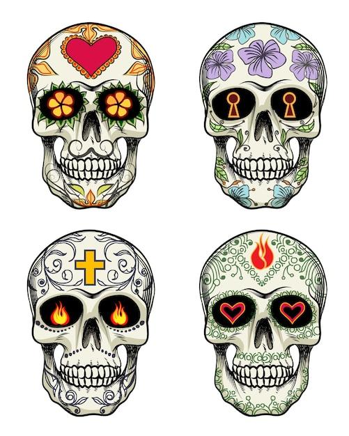 Векторные черепа с цветами на день мертвых Бесплатные векторы