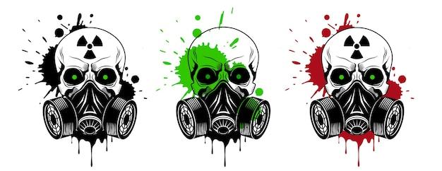 가스 마스크, 방사선 기호 벡터 두개골 프리미엄 벡터