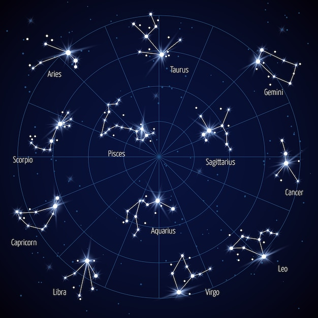 Vector sky star map with constellations stars Premium Vector
