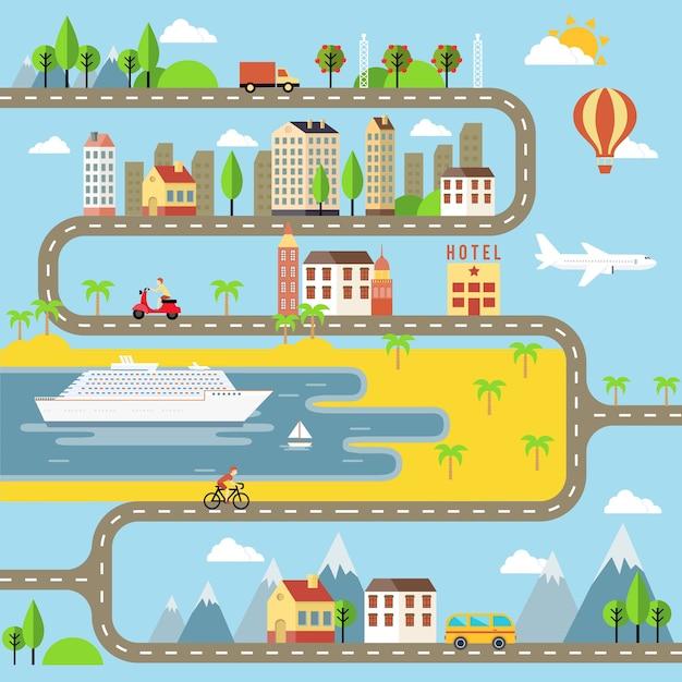 Progettazione dell'illustrazione di paesaggio urbano della piccola città di vettore per i bambini Vettore gratuito