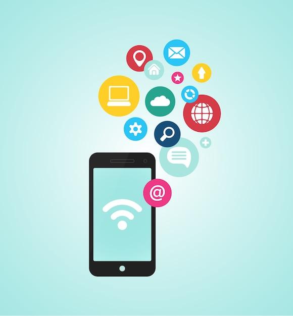 Векторная концепция устройства смартфона с иконками приложений в плоском дизайне Бесплатные векторы