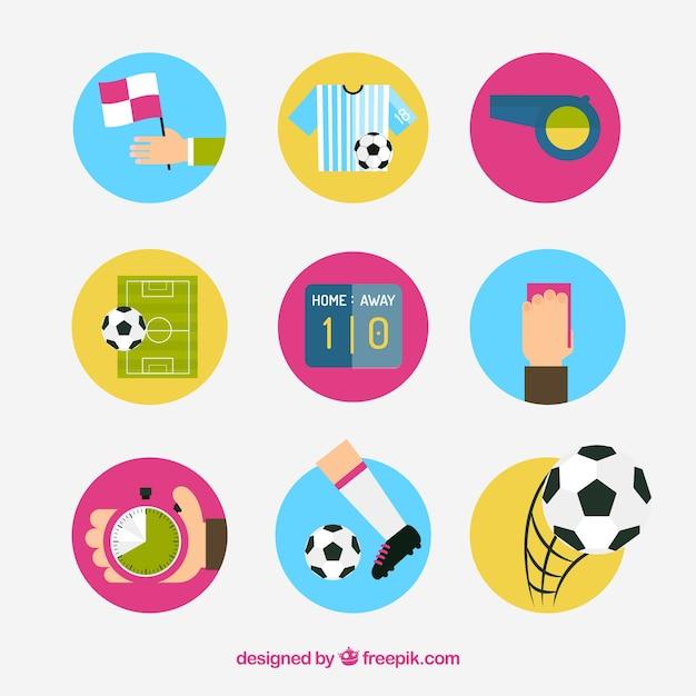 Vector soccer icon set Free Vector