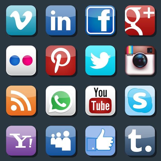 Icone di social media vettoriali. pinterest e instagram, flickr e whatsapp, skype e linkedin Vettore gratuito