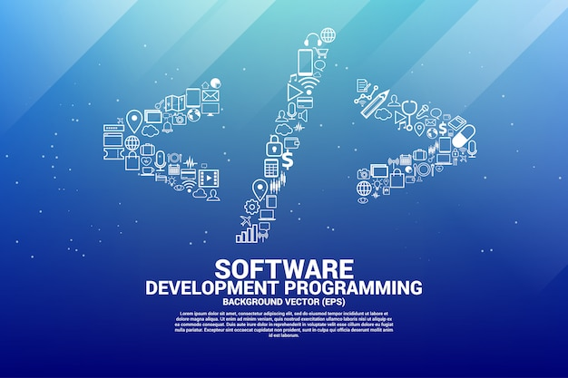 Vector software programming tag with functional icon. Premium Vector