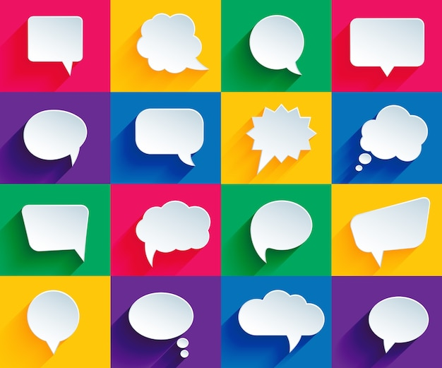 Vector speech bubbles in flat design with shadows Free Vector